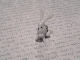 White Black Spotted Bunny Hand Blown Glass Mini Figurine Made in USA image 3