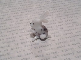 White Black Spotted Bunny Hand Blown Glass Mini Figurine Made in USA image 4