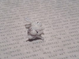 White Black Spotted Bunny Hand Blown Glass Mini Figurine Made in USA image 7