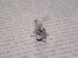 White Black Spotted Bunny Hand Blown Glass Mini Figurine Made in USA image 5