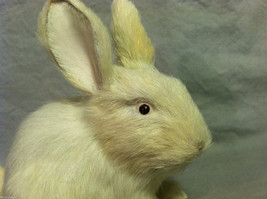 White Bunny Rabbit Animal Figurine - recycled rabbit fur image 2