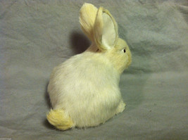 White Bunny Rabbit Animal Figurine - recycled rabbit fur image 4