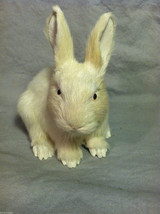 White Bunny Rabbit Animal Figurine - recycled rabbit fur image 8