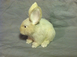 White Bunny Rabbit Animal Figurine - recycled rabbit fur image 7