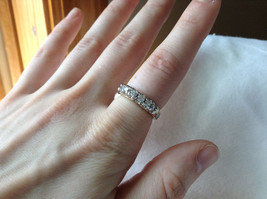 White CZ Stone Gold Plated Band Ring Size 5.75 image 5