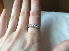 White CZ Stone Gold Plated Band Ring Size 5.75 image 8