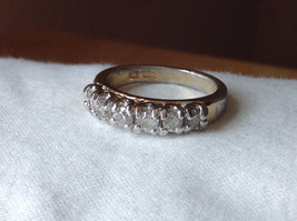 White CZ Stone Gold Plated Band Ring Size 5.75 image 9