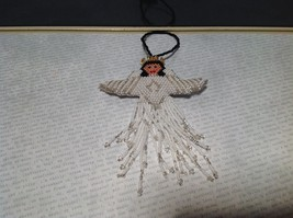 White Metallic Beads Handmade Beaded Angel Ornament Decoration image 3