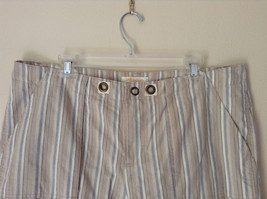 White Light Brown Blue Striped Casual 100 Percent  Cotton Shorts by Lee Size 16M image 2
