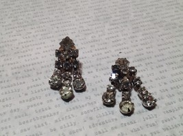 White Stone Silver Tone Dangling Vintage Clip on Earrings image 3