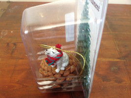 White Wolf with Scarf Real Pine Cone Pet Pine Cone Christmas Ornament image 3