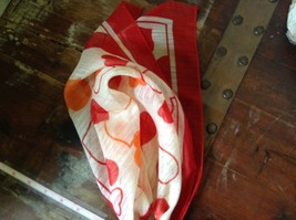 White Square Scarf with Red and Orange Hearts Red Outline Measurements Below image 5