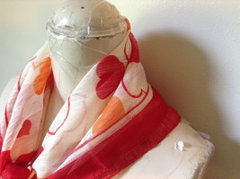 White Square Scarf with Red and Orange Hearts Red Outline Measurements Below image 4
