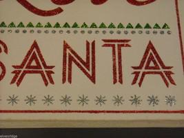 "White Wooden Box Sign ""Peace Love Santa"" in Red Glitter Christmas Decor image 5"