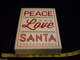 "White Wooden Box Sign ""Peace Love Santa"" in Red Glitter Christmas Decor image 8"
