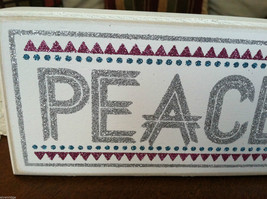 """White Wooden Box Sign """"Peace on Earth"""" Glitter Christmas Decor image 3"""
