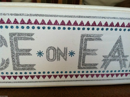 """White Wooden Box Sign """"Peace on Earth"""" Glitter Christmas Decor image 4"""