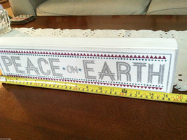 """White Wooden Box Sign """"Peace on Earth"""" Glitter Christmas Decor image 6"""