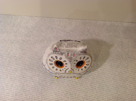 White Piggy Bank Owl New Hearts On Front Light Violet Feathers image 6