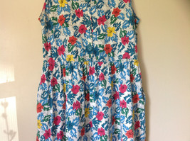 White Pink Blue Yellow Teal Tropical Floral Dress Lord and Taylor Size Large image 3