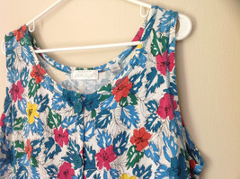 White Pink Blue Yellow Teal Tropical Floral Dress Lord and Taylor Size Large image 6