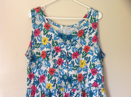 White Pink Blue Yellow Teal Tropical Floral Dress Lord and Taylor Size Large image 2