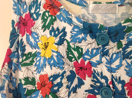 White Pink Blue Yellow Teal Tropical Floral Dress Lord and Taylor Size Large image 7