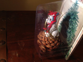 White Poodle with Scarf Real Pine Cone Pet Pine Cone Christmas Ornament image 2