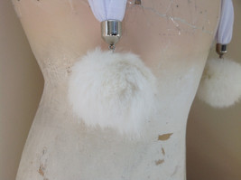 White Scarf with Rabbit Fur pom pom  70 Inches Long Balls 4 inches Wide image 4