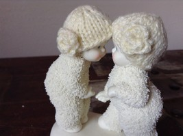 White Porcelain Figurine Boy and Girl Friends w Real Woven Hats snow babies image 4