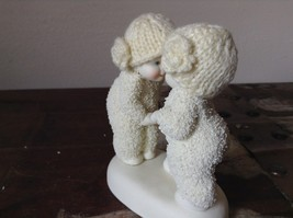 White Porcelain Figurine Boy and Girl Friends w Real Woven Hats snow babies image 3