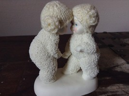 White Porcelain Figurine Boy and Girl Friends w Real Woven Hats snow babies image 2