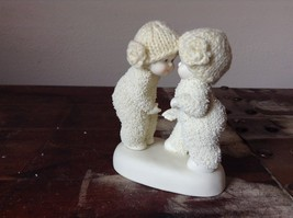 White Porcelain Figurine Boy and Girl Friends w Real Woven Hats snow babies image 5