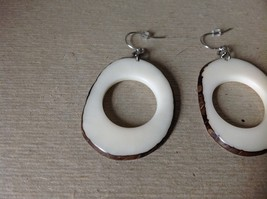 White Round Black Outline Handmade Dyed Tagua Dangling Earrings image 2
