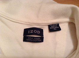 White Short Sleeve IZOD 100 Percent Cotton Polo Shirt Size XL Front Shorter image 7