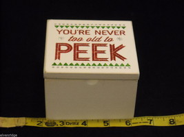 White Wooden Gift Box You're Never Too Old to Peek Christmas Decor w glitter image 3