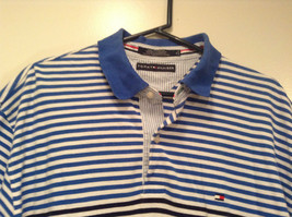 White and Blue Stripes Short Sleeve Tommy Hilfiger Polo Shirt Size XL image 2