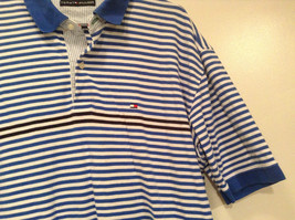 White and Blue Stripes Short Sleeve Tommy Hilfiger Polo Shirt Size XL image 4