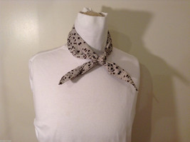 White and Brown Patterned Necktie or Scarf Pleats on one side image 2