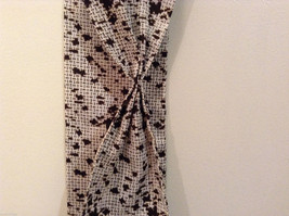 White and Brown Patterned Necktie or Scarf Pleats on one side image 4