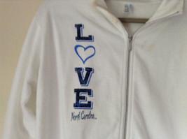 White Zip Up Long Sleeve Sweatshirt LOVE North Carolina RS For her Size Large image 2