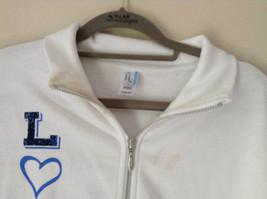 White Zip Up Long Sleeve Sweatshirt LOVE North Carolina RS For her Size Large image 3