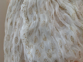 White with Gold Beaded Tassels Indian Style Scrunched Style Scarf Hand Printed image 4