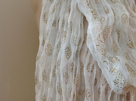 White with Gold Beaded Tassels Indian Style Scrunched Style Scarf Hand Printed image 5