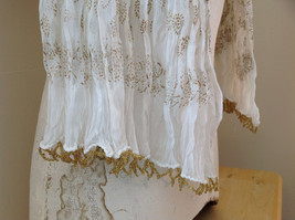 White with Gold Beaded Tassels Indian Style Scrunched Style Scarf Hand Printed image 6