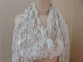 White with Gold Beaded Tassels Indian Style Scrunched Style Scarf Hand Printed image 3