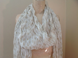 White with Gold Beaded Tassels Indian Style Scrunched Style Scarf Hand Printed image 8