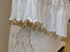 White with Gold Beaded Tassels Indian Style Scrunched Style Scarf Hand Printed image 7