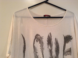 White with LOVE in Black Letters Short Sleeve T Party Top Scoop Wide Neck Size L image 4