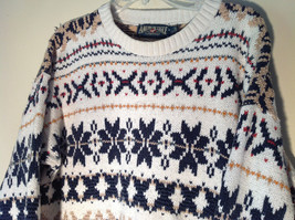 White with Navy Blue Orange Green Tan Patterned Sweater American Eagle Size L image 2